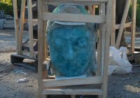 Glass Buddha Head Sculpture